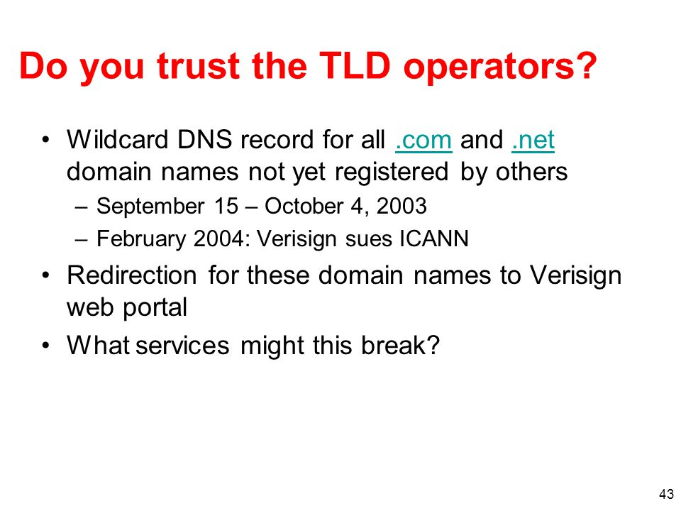 Do you trust the TLD operators