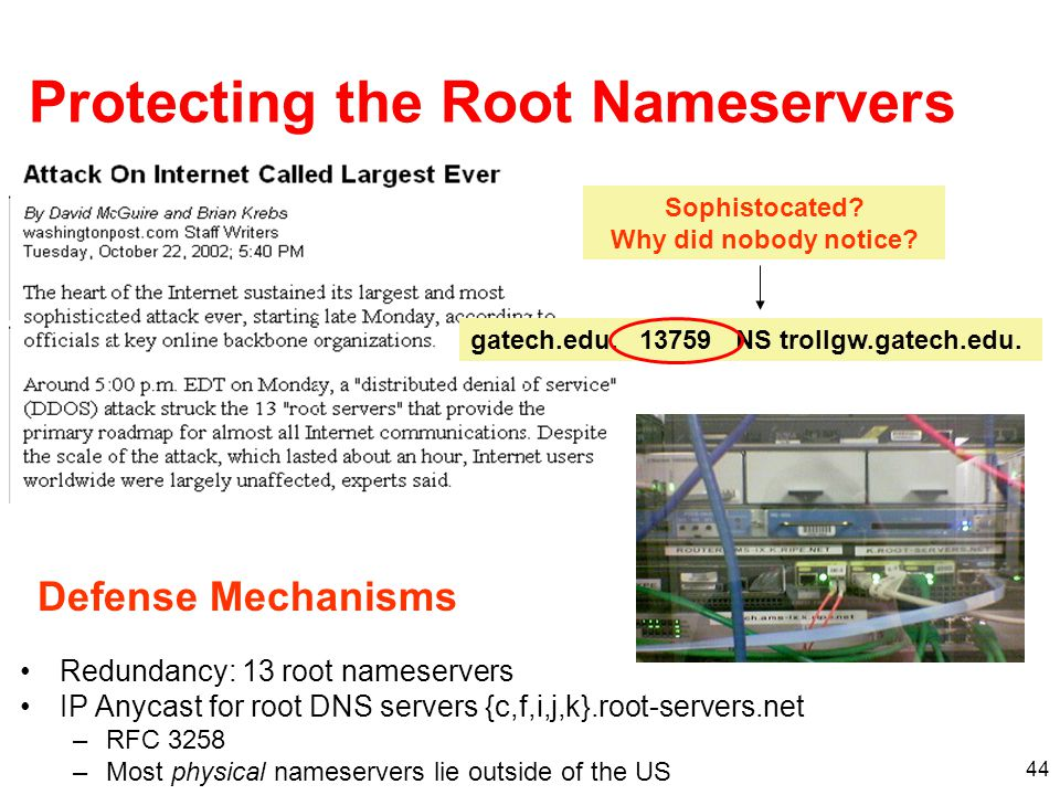 Protecting the Root Nameservers