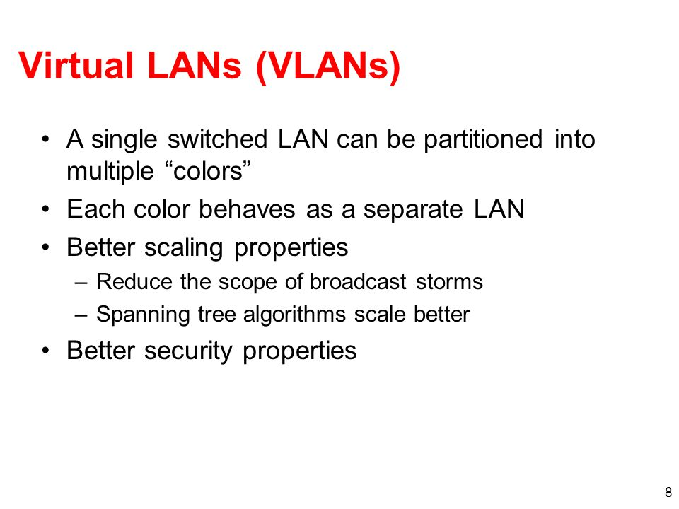 Virtual LANs (VLANs) A single switched LAN can be partitioned into multiple colors Each color behaves as a separate LAN.