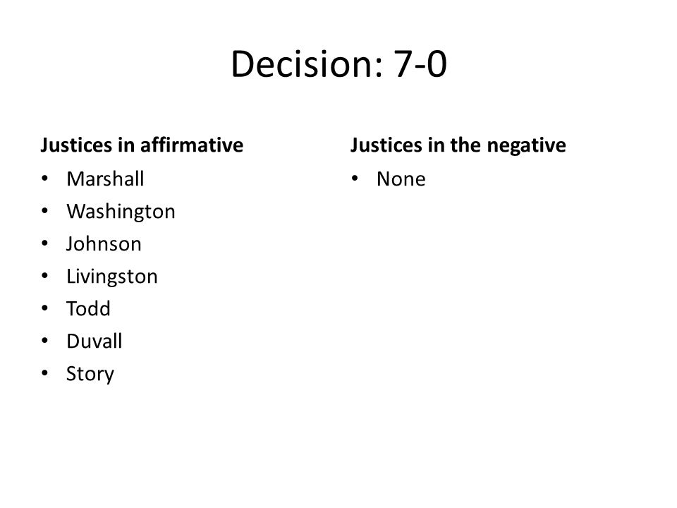 Decision: 7-0 Justices in affirmative Justices in the negative
