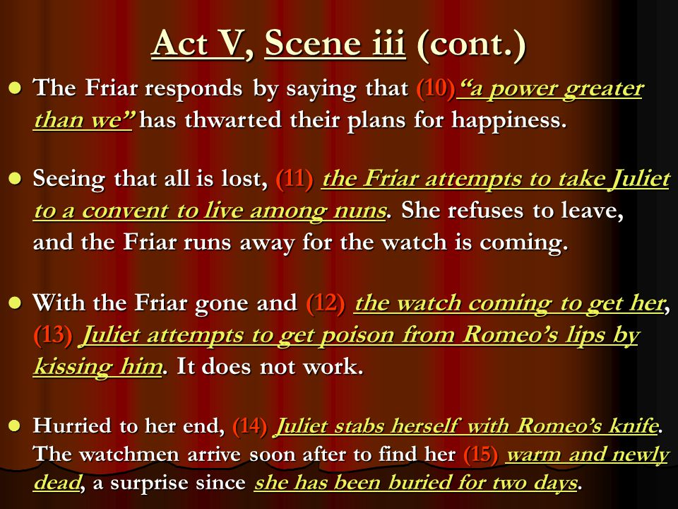 Act V, Scene iii (cont.) The Friar responds by saying that (10) a power greater than we has thwarted their plans for happiness.