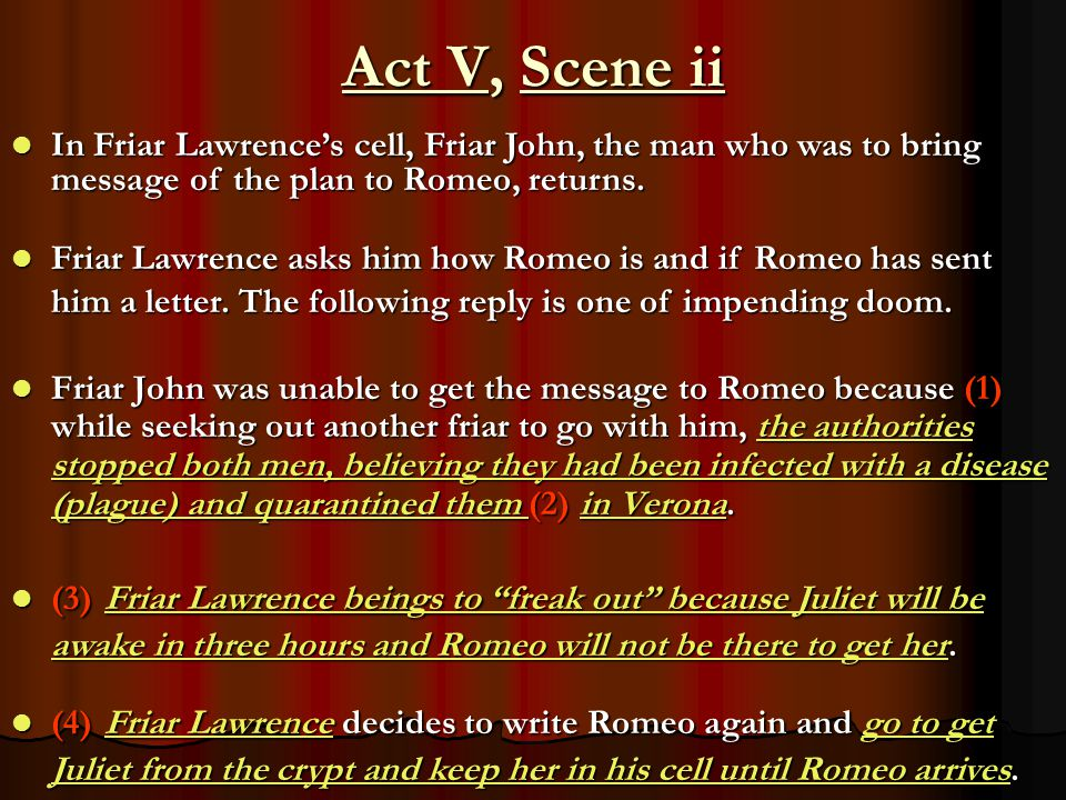 Act V, Scene ii In Friar Lawrence's cell, Friar John, the man who was to bring message of the plan to Romeo, returns.