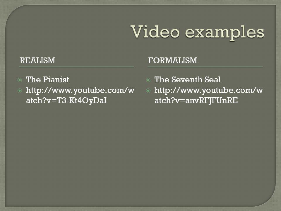 Video examples Realism Formalism The Pianist