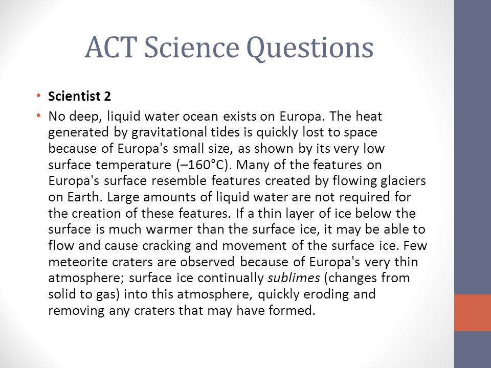 ACT Science Questions Scientist 2