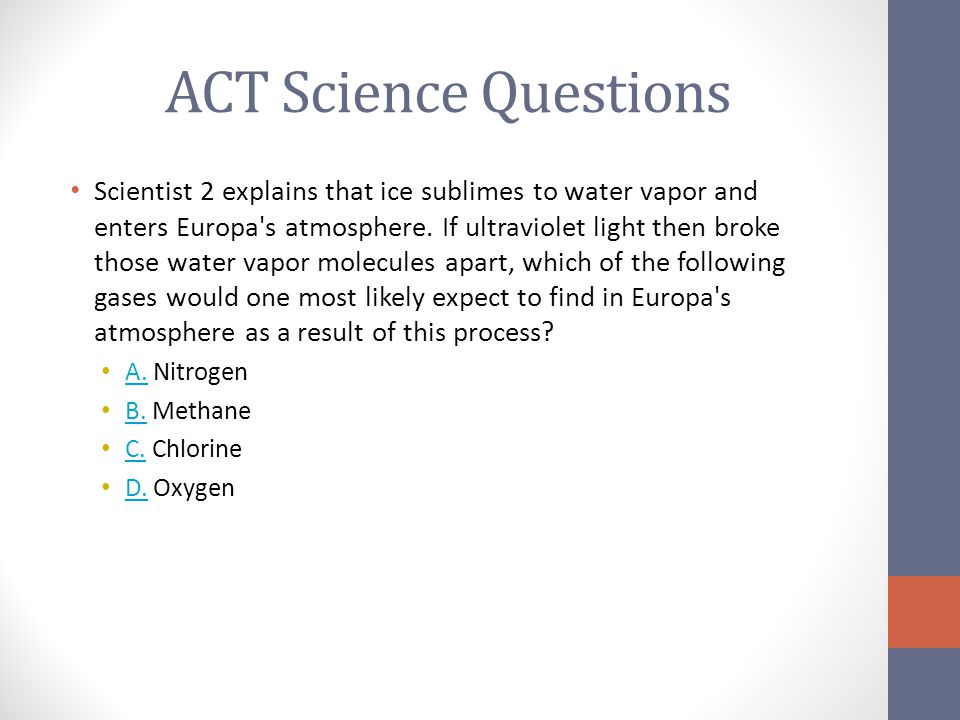 ACT Science Questions