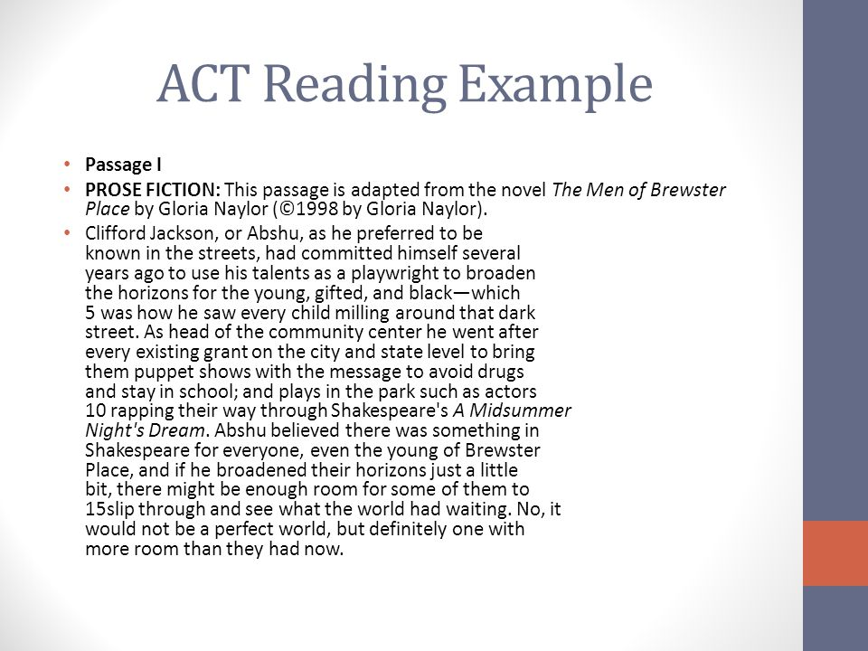 ACT Reading Example Passage I