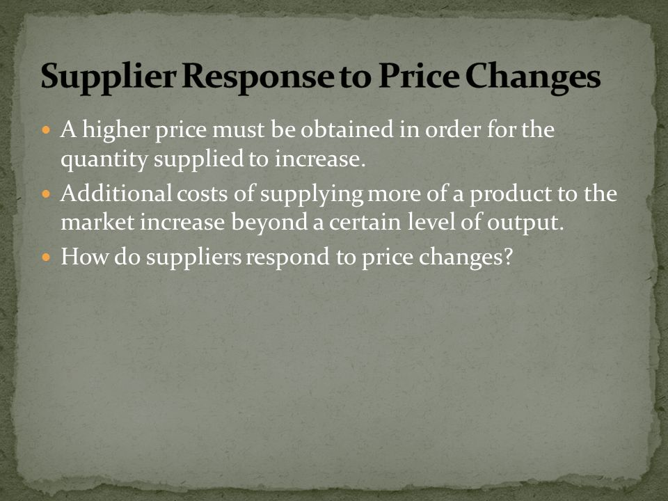Supplier Response to Price Changes