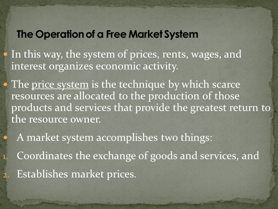 The Operation of a Free Market System