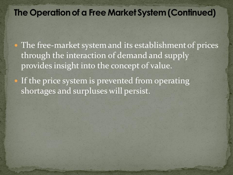 The Operation of a Free Market System (Continued)