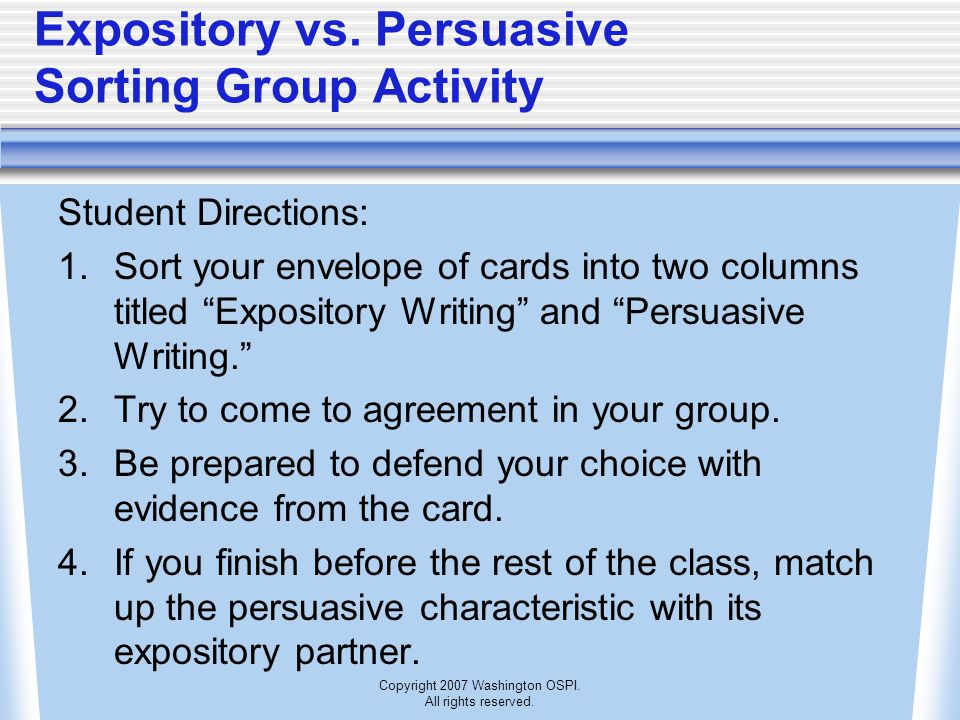 Expository vs. Persuasive Sorting Group Activity