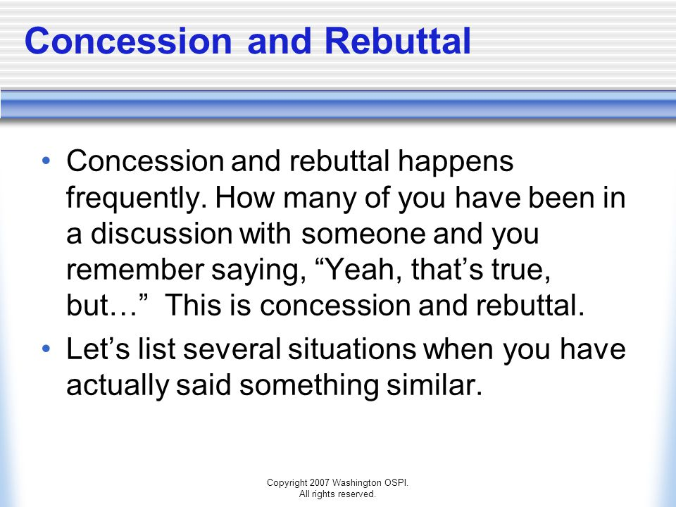 Concession and Rebuttal