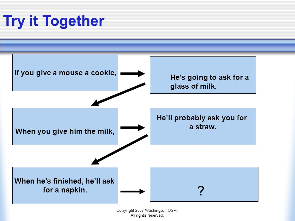 Try it Together If you give a mouse a cookie,