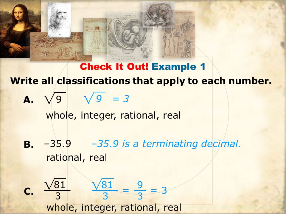 whole, integer, rational, real