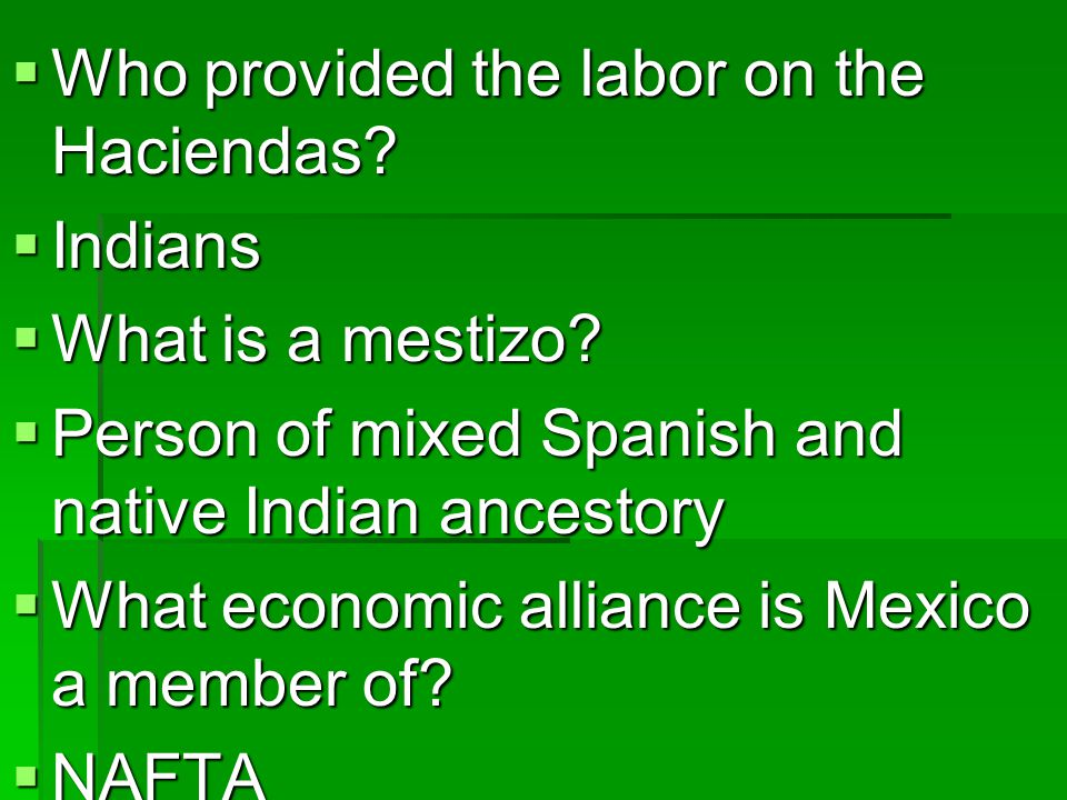 Who provided the labor on the Haciendas