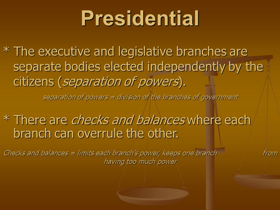 separation of powers = division of the branches of government