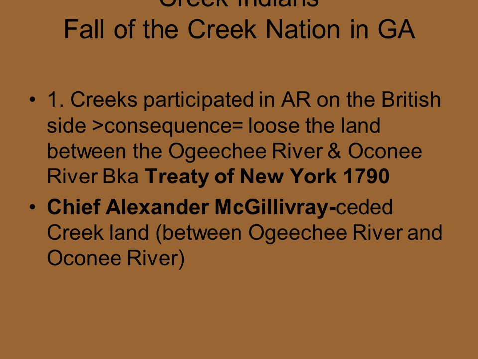 Creek Indians Fall of the Creek Nation in GA
