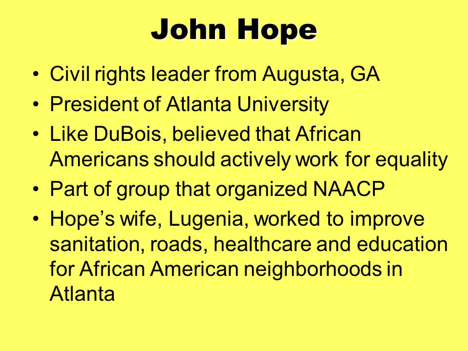 John Hope Civil rights leader from Augusta, GA