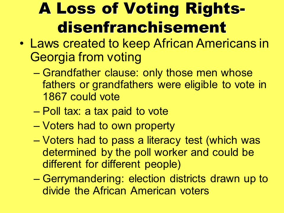 A Loss of Voting Rights-disenfranchisement