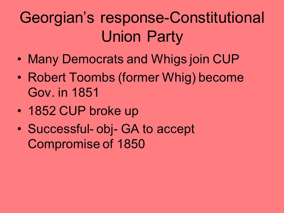 Georgian's response-Constitutional Union Party