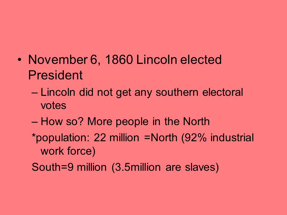 November 6, 1860 Lincoln elected President