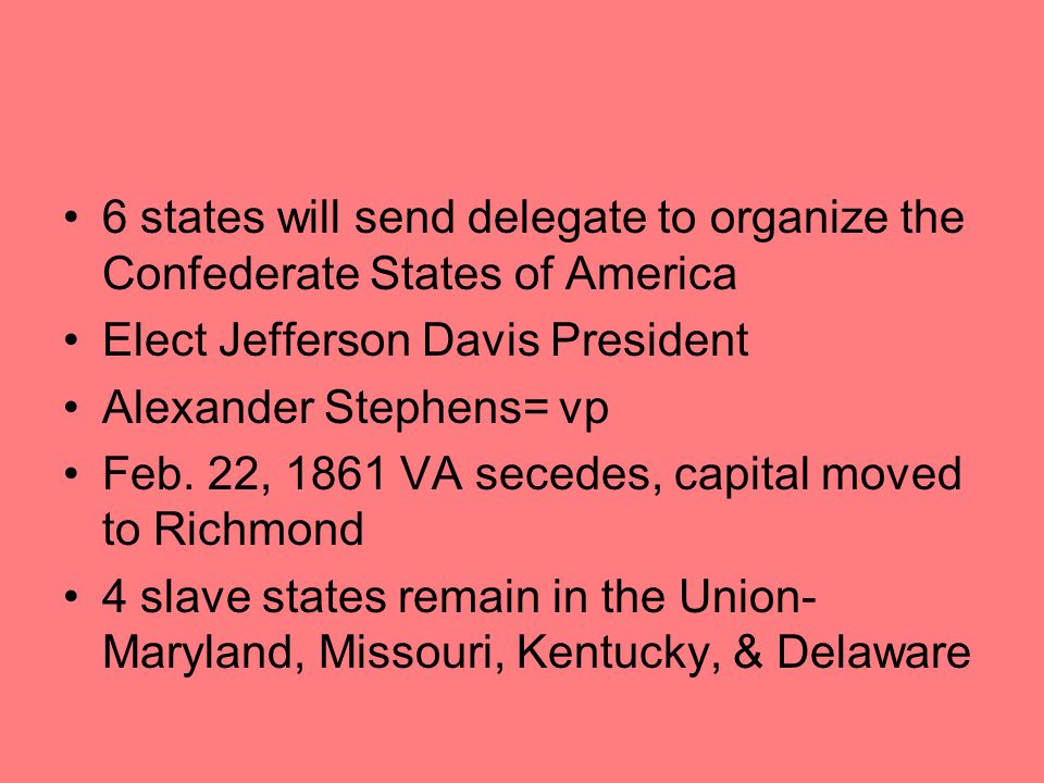 6 states will send delegate to organize the Confederate States of America