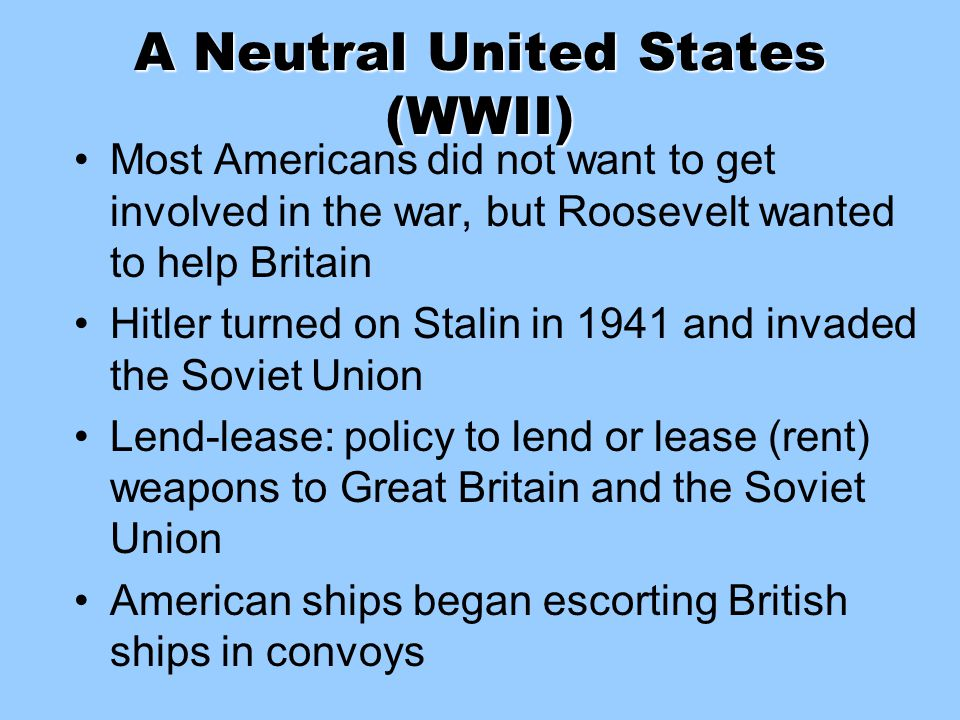 A Neutral United States (WWII)
