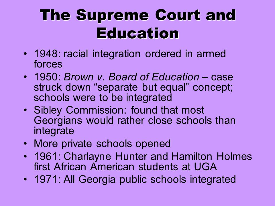The Supreme Court and Education