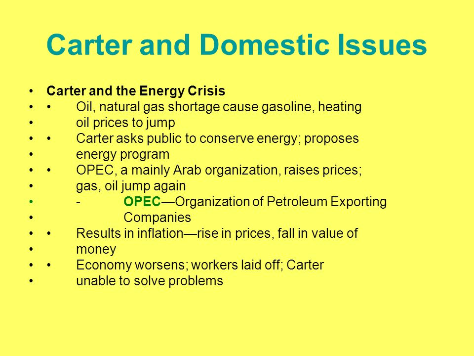 Carter and Domestic Issues