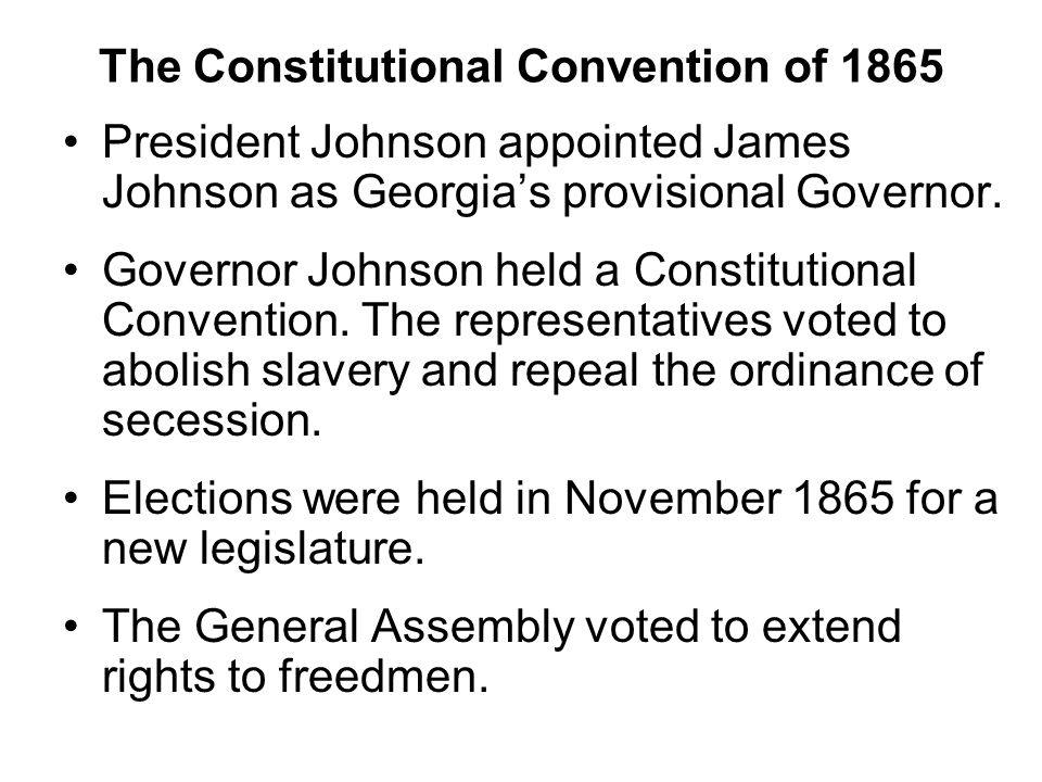 The Constitutional Convention of 1865