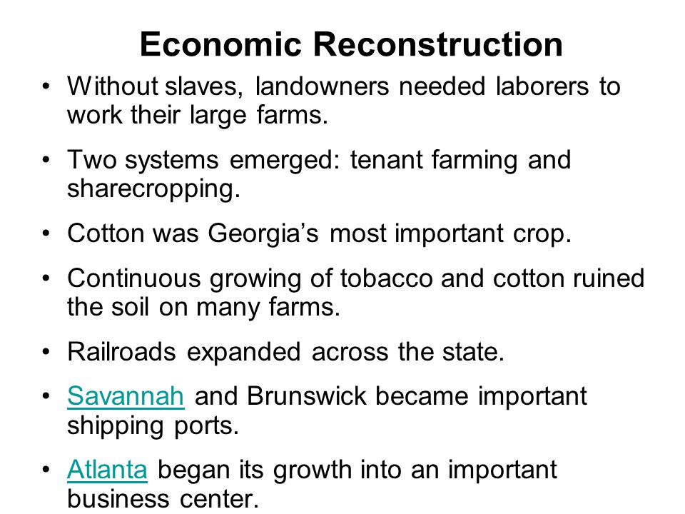 Economic Reconstruction