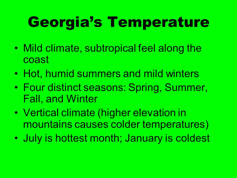 Georgia's Temperature