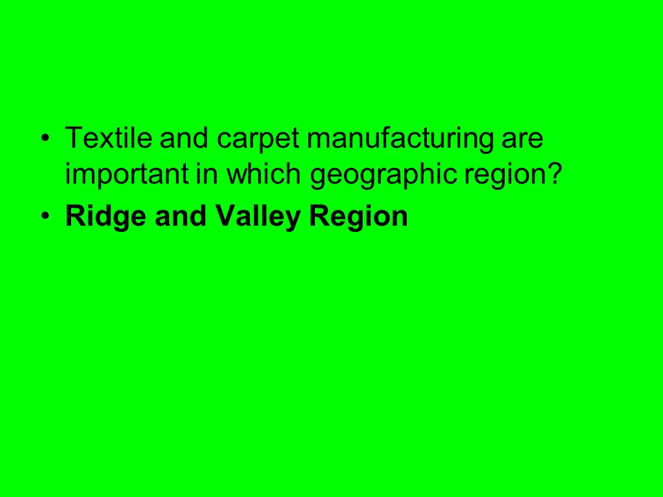 Textile and carpet manufacturing are important in which geographic region
