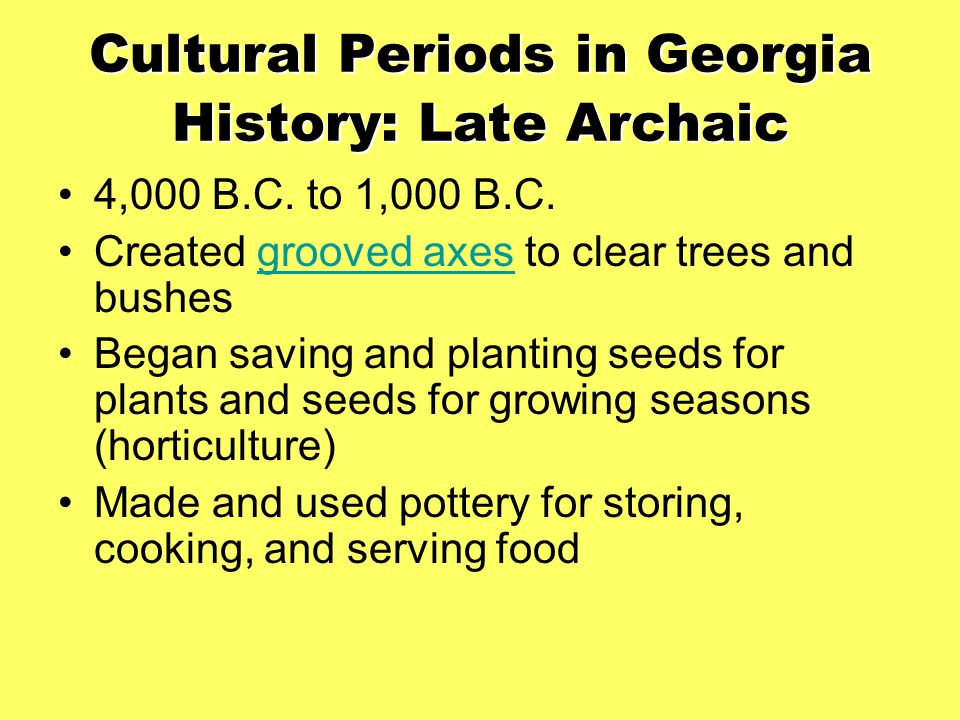 Cultural Periods in Georgia History: Late Archaic