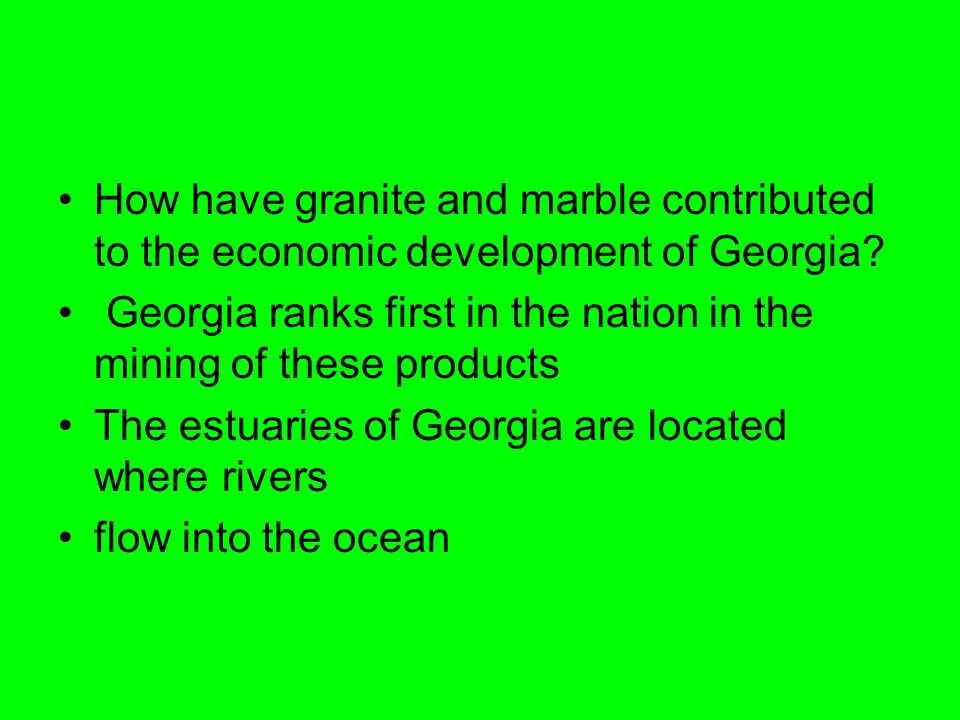 How have granite and marble contributed to the economic development of Georgia