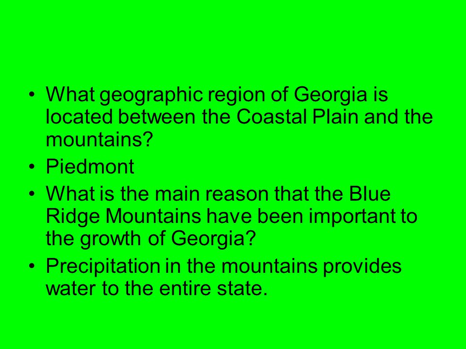 What geographic region of Georgia is located between the Coastal Plain and the mountains