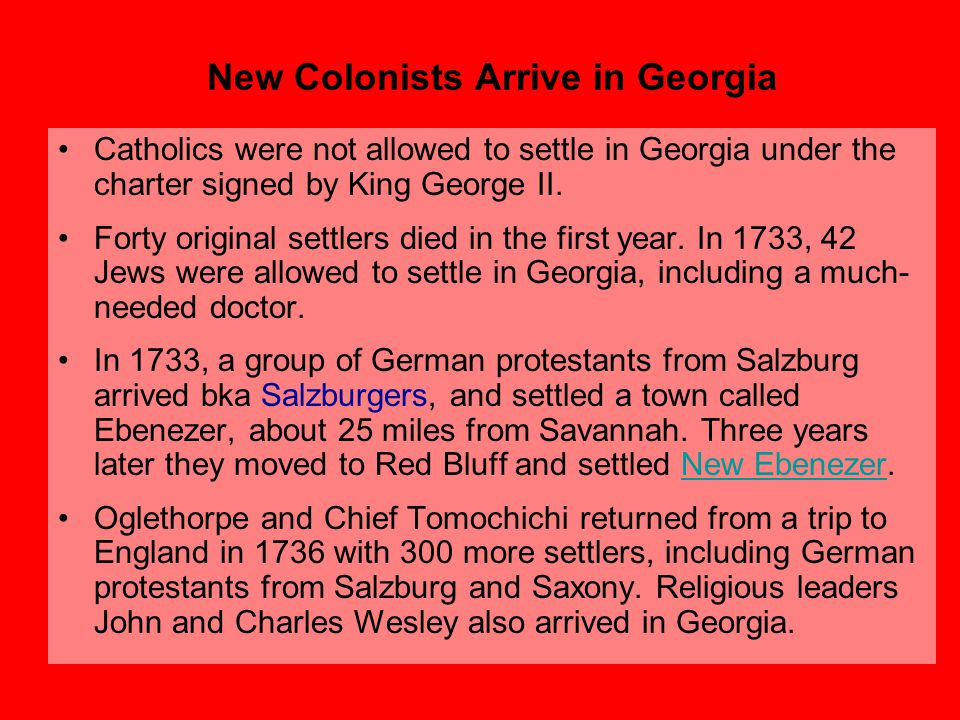 New Colonists Arrive in Georgia