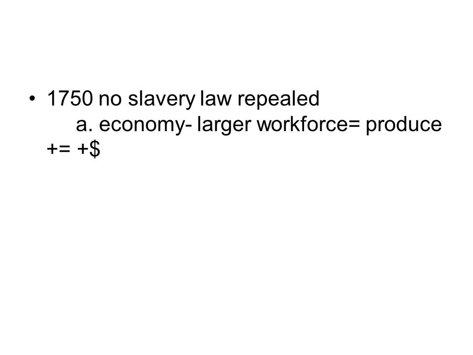 1750 no slavery law repealed. a