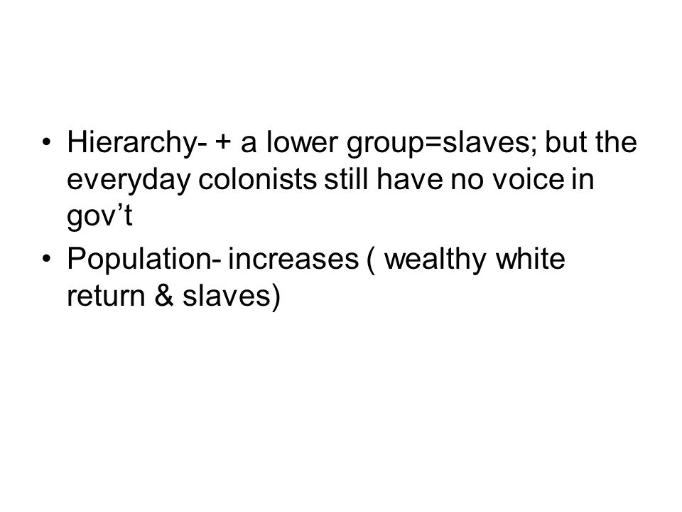 Hierarchy- + a lower group=slaves; but the everyday colonists still have no voice in gov't