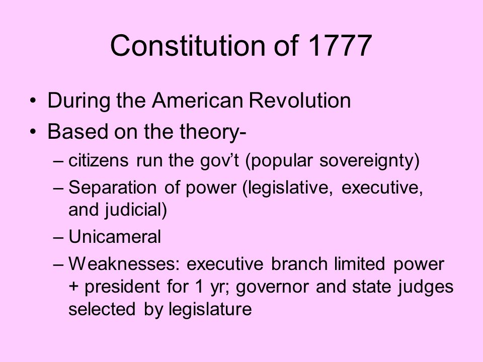 Constitution of 1777 During the American Revolution