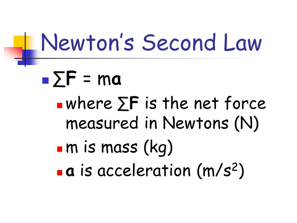 Newton's Second Law ∑F = ma
