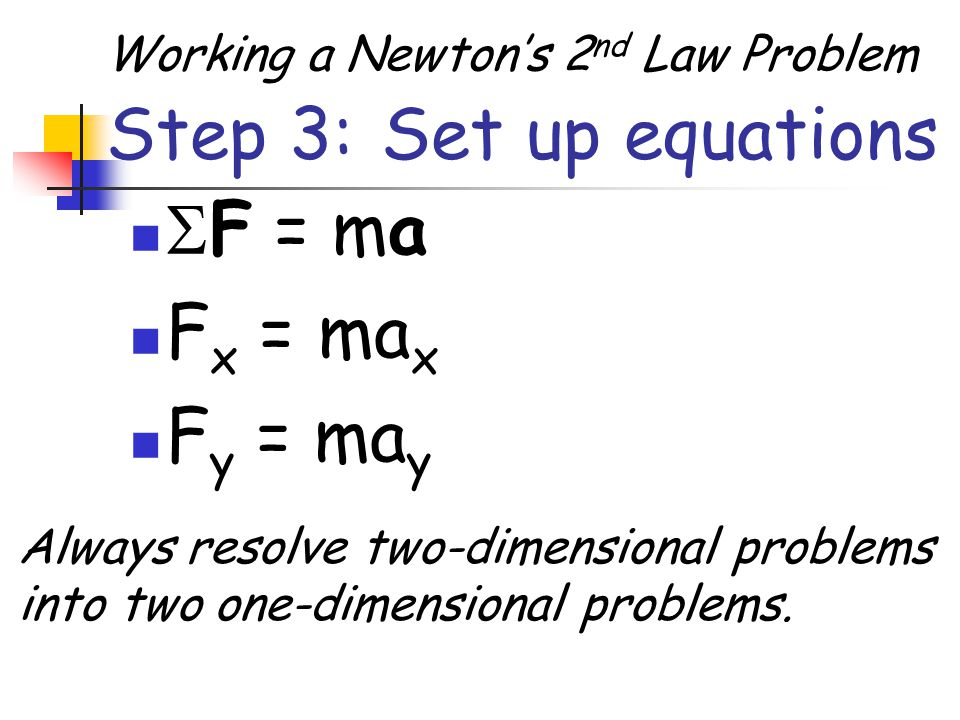 Step 3: Set up equations F = ma Fx = max Fy = may