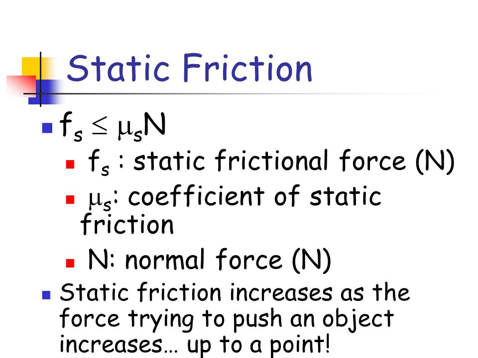 Static Friction fs  sN fs : static frictional force (N)