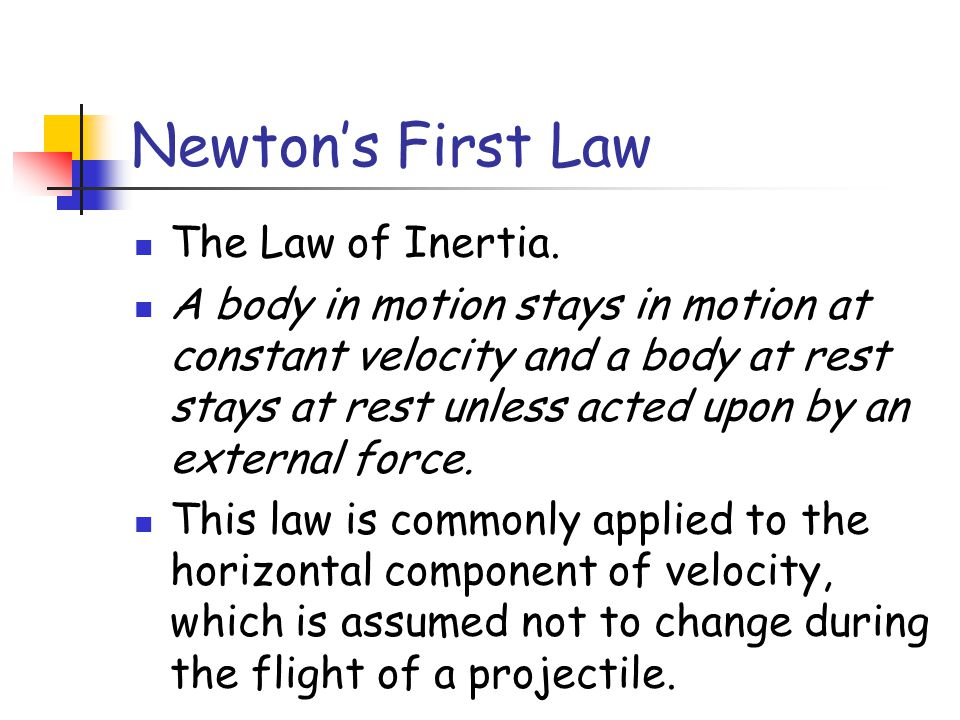 Newton's First Law The Law of Inertia.