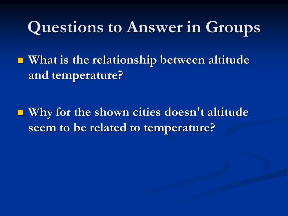 Questions to Answer in Groups