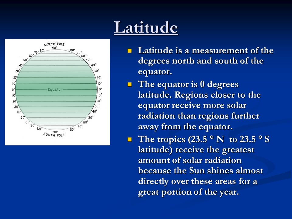 Latitude Latitude is a measurement of the degrees north and south of the equator.