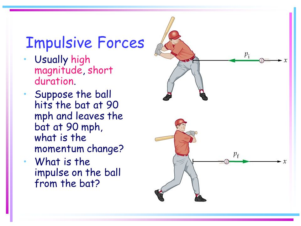 Impulsive Forces Usually high magnitude, short duration.