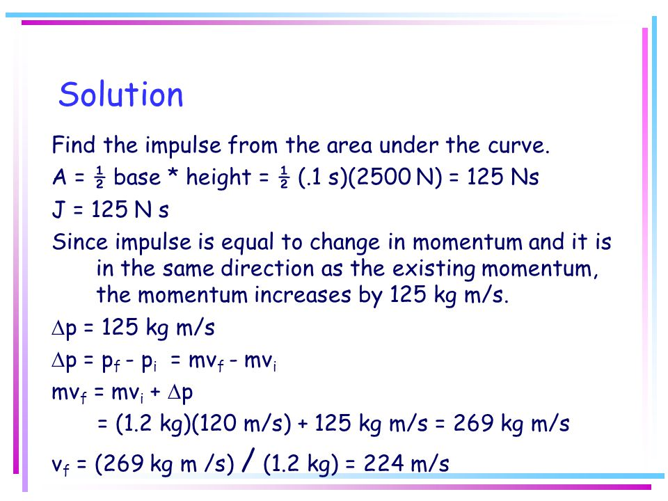 Solution Find the impulse from the area under the curve.