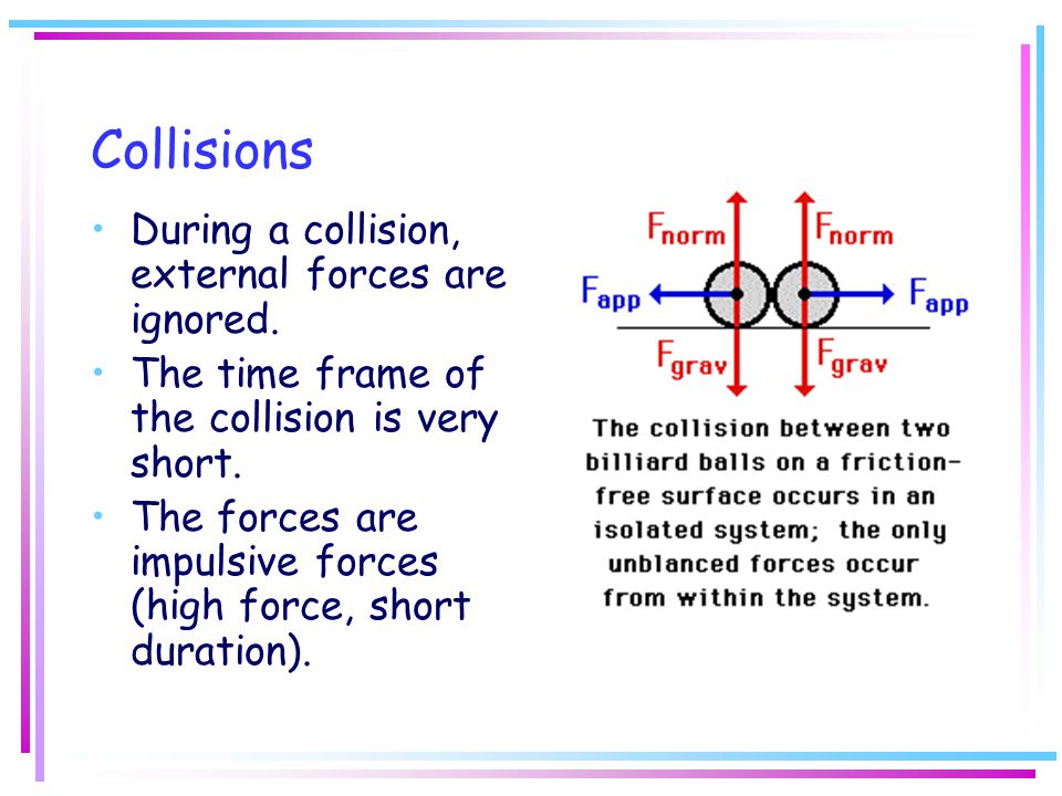 Collisions During a collision, external forces are ignored.