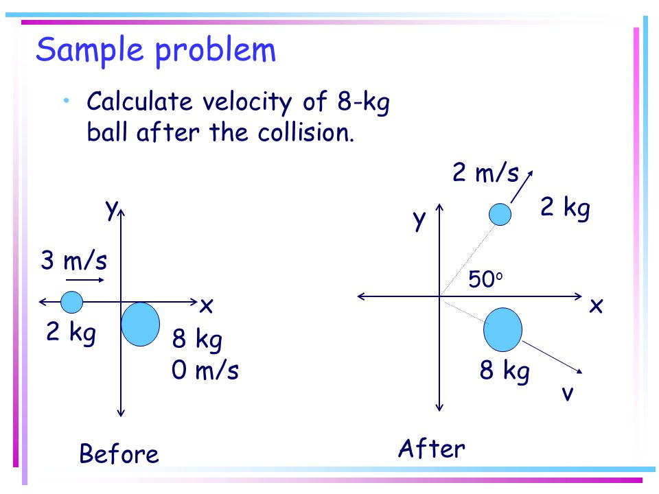 Sample problem Calculate velocity of 8-kg ball after the collision.
