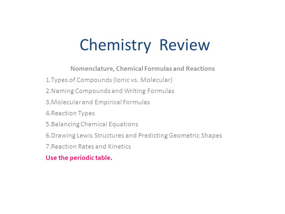 Nomenclature, Chemical Formulas and Reactions